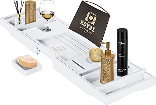 Royal Craft Wood Bamboo Bathtub Caddy Tray with Wine and Book Holder - One or Two Person Bath Tray with Extending Sides - FREE Soap Dish - WHITE by Royal Craft Wood
