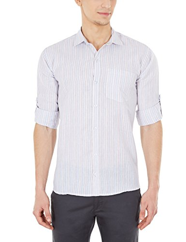 Blue Fire Men's Striped Full Sleeve Slim Fit Poly Cotton Casual Shirt