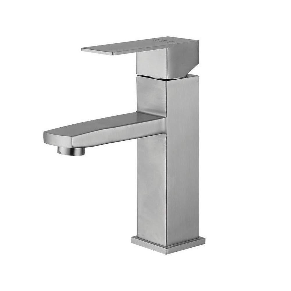 DDLLA 304 edelstahl bad wasserhahn gebürstetem nickel rechteckige Heiße und kalte waschbecken wasserhahn becken wasserhahn waschbecken wasserhahn einzigen griff ein loch deck montieren