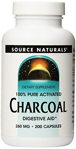 Source Naturals 100% Pure Activated Charcoal, Digestive Aid, 200 Capsules