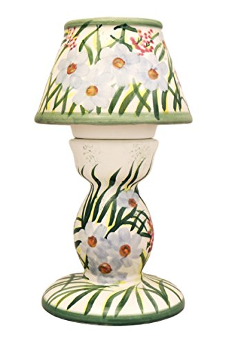 Garden Floral Collection, Hand Painted Ceramic, Tea Light Lamp 7-5/8