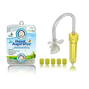 Baby Nasal Aspirator. Ritalia snotsucker with 5 Hygiene Filters. Sinus Congestion Relief for Newborns, Infant and Toddlers. Free of BPA, Safe and Non Toxic.