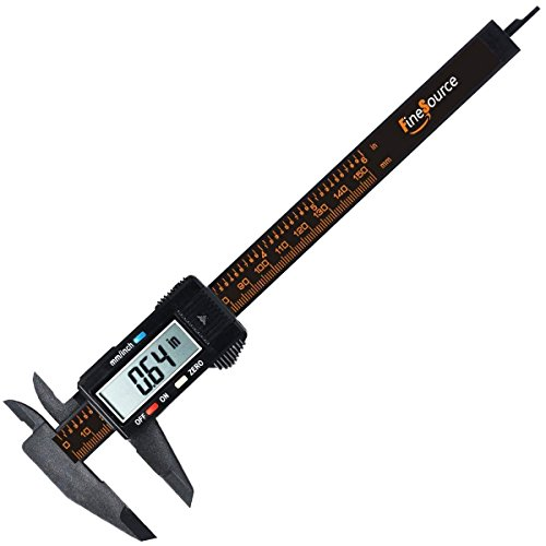 FineSource Black-01 Electronic Digital Caliper Inch/Metric Conversion 0-6 Inch/150 mm Carbon Fiber Gauge Micrometer Extra Large LCD Screen Auto Off Featured Me, 1, Black ()