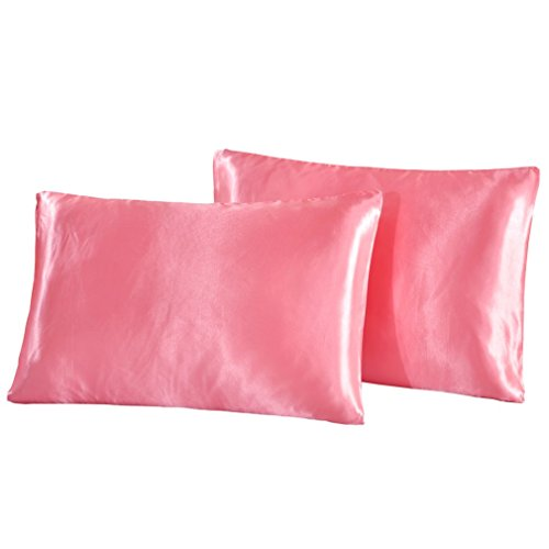 Polyester Satin Pillowcase - Highdeer 2 Pack Pink Satin Pillowcases, King Size 100% Polyester Satin Pillow Cases for Hair and Skin, Faux Mulberry Silk Charmeuse Fabric Pillow Covers Shams without Zipper