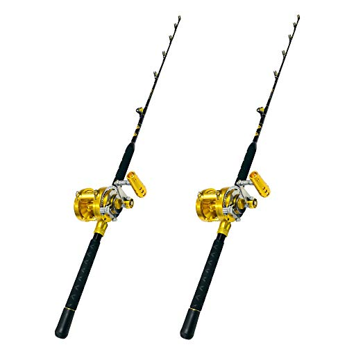 (COMBO (2) 30 WIDE 2 SPEED REELS AND (2) 30-50 LB. BLUE MARLIN TOURNAMENT EDITION FISHING RODS)