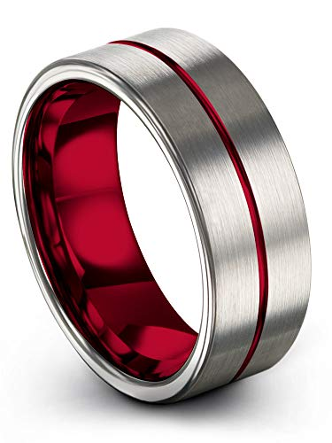 Chroma Color Collection Tungsten Carbide Wedding Band Ring 8mm for Men Women Red Center Line Red Interior with Grey Beveled Edge Brushed Polished Comfort Fit Anniversary Size 14