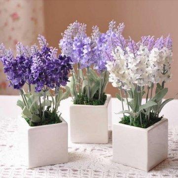 High Quality 10 Head Bouquet Beautiful Artificial Lavender Silk Flowers - White Cesis