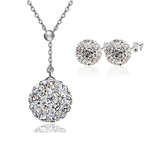 Cat Eye Jewels S925 Sterling Silver Y-Chain AAAA Shambhala/Disco Ball Crystal Cubic Zircon Necklace and Stud Earrings - Graduated Round Crystal Necklace