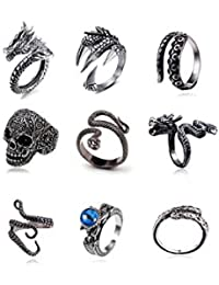 Vintage Punk Silver Black Chinese Dragon Snake Dragon Claw Skull Rings Jewelry Gothic Alloy Open Adjustable