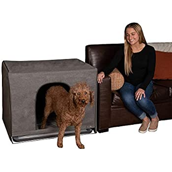 Pet Gear Pro Pawty, Potty Training Aid for Pee Pad/Grass Patch, Removable Tray Holds Pad Included, Hides Messes, Optional Wall Guard, Dog Litter Box, Pro Pawty ONLY- Large, Charcoal