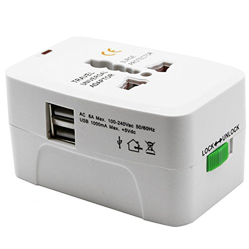 CREATOR Travel Adapter Converter Two USB Port Universal Worldwide All in One Wall Adapter Converter Plug Surge Protector International Travel Power Adapter AC Power Europe, UK, EU, AUS to USA