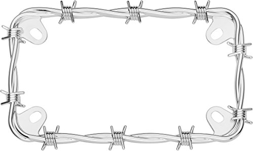 Cruiser Accessories 77430 MC Barbed Wire Motorcycle License Plate Frame, Chrome ()