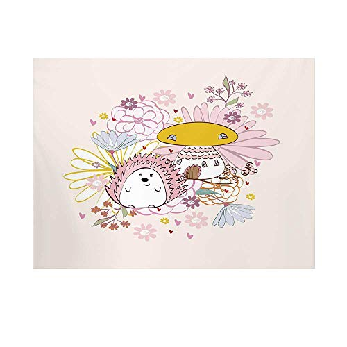 (Hedgehog Photography Background,Abstract Background with Mushroom House Hedgehog with Floral Arrangement Decorative Backdrop for Studio,10x10ft)