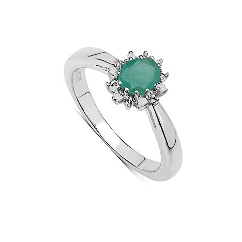 The Emerald Ring Collection: Beautiful Sterling Silver Oval Emerald &...
