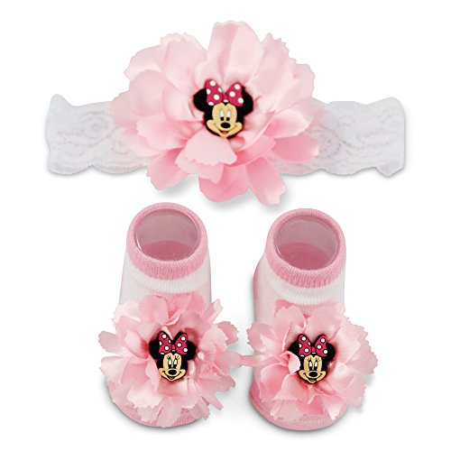 (Disney Baby Girls' Minnie Mouse Polka Dot Flower Headwrap and Booties Gift Set, pink, white, 0-12M)