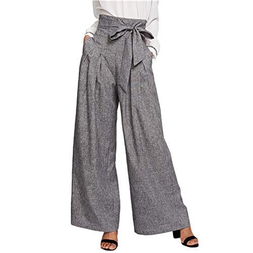 (Wide Leg Pants Zipper Fly Loose Grey High Waist Self Belted Box Pleated Palazzo Pants,Gray,M)