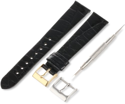 Artisan of Italy AITG500-0117MR Men's Classic Ultra-Thin Alligator 17mm Black Watch Strap by Artisan of Italy