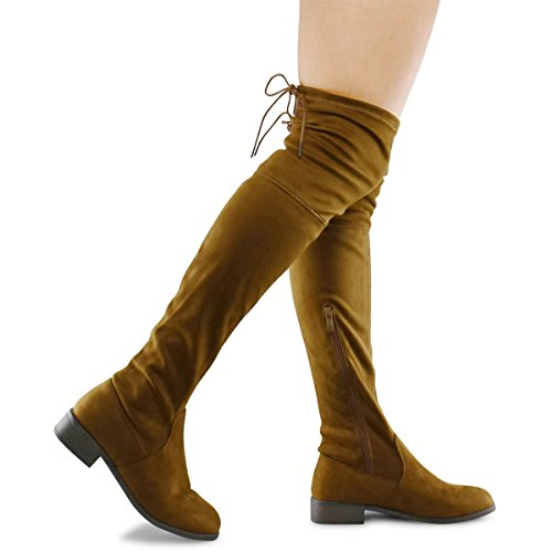 Tan Standard Womens Boots (Premier Standard Women's Fashion Comfy Vegan Suede Block Heel Side Zipper Back Lace Thigh High Over The Knee Boots, TPS Olympia-14 Tan Size 8)