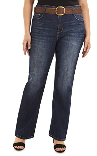 Angels Plus Size Belted Curvy Bootcut Jeans In Cypress - Jeans Belted Wide