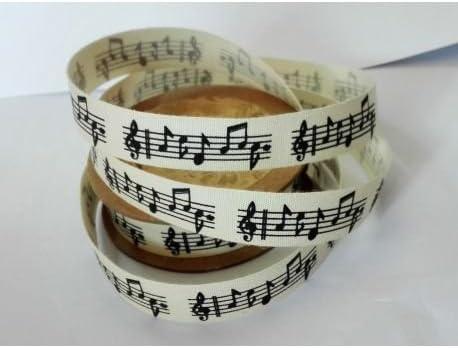 Générique Cinta de algodón 15 mm Notas Musicales 5 Metros: Amazon ...