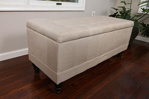 Home Life Lift Top Storage Bench with Tufted Accents Light Beige Linen Fabric with Wooden Legs