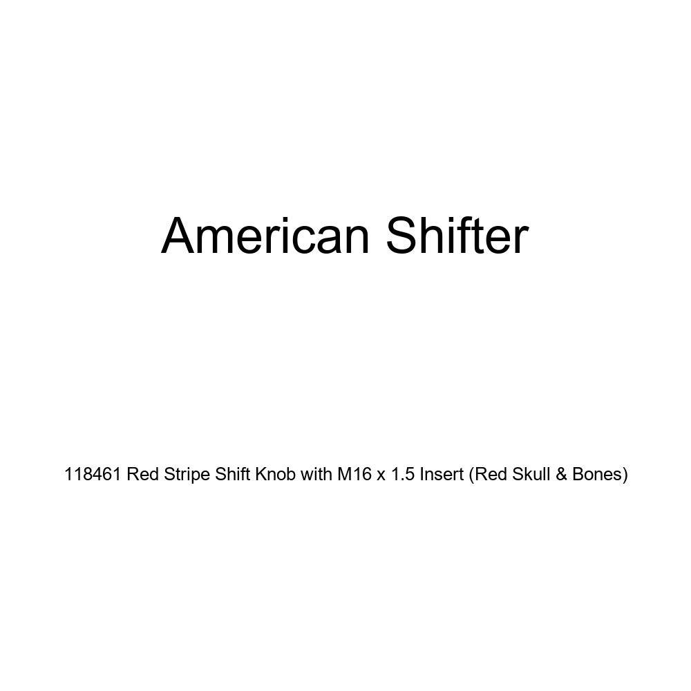American Shifter 118461 Red Stripe Shift Knob with M16 x 1.5 Insert Red Skull /& Bones
