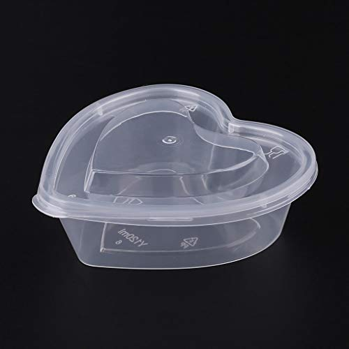 Dinfoger Clear Plastic Souffle Cups with Libs-Heart Shape Parfait Cups,Sauce Chutney Cups,Food Container Slime Storage Box Case with Lid 120ml ()