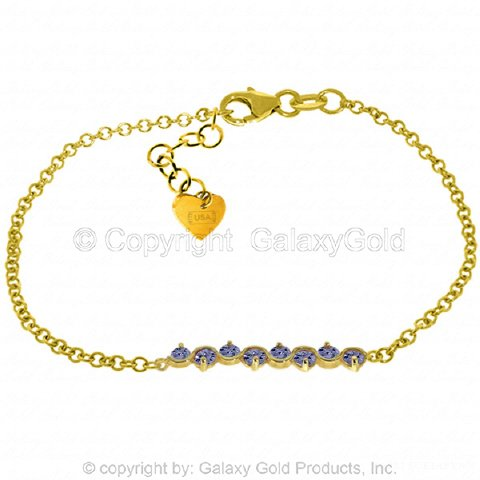 14k Yellow Gold Prong Set Tanzanite Bracelet ()