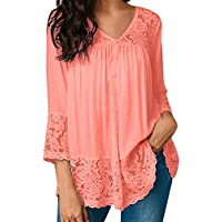 HGWXX7 Womens Tops 3/4 Sleeve Loose Lace Bandage V-Neck Blouse T Shirts