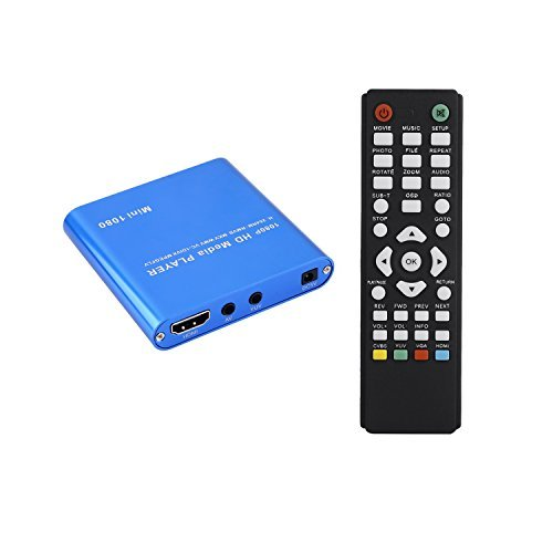 1080P Mini Media Player with HOST USB/SD Card Reader (Blue) - 4