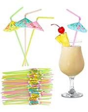 Umbrella Straws for Cocktail Drinks, Tropical Garnish, Aloha Party Supplies (150 Pack)