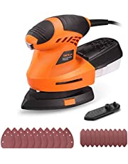 Detail Sander, TACKLIFE Mouse Sander 1.67A 200W with 360° Rotatable Sanding Pad, 20pcs Sanding Paper, 12000 OPM Corner Palm Sander with Finger Pad Mounting, Dust Collection Container | PMS02B