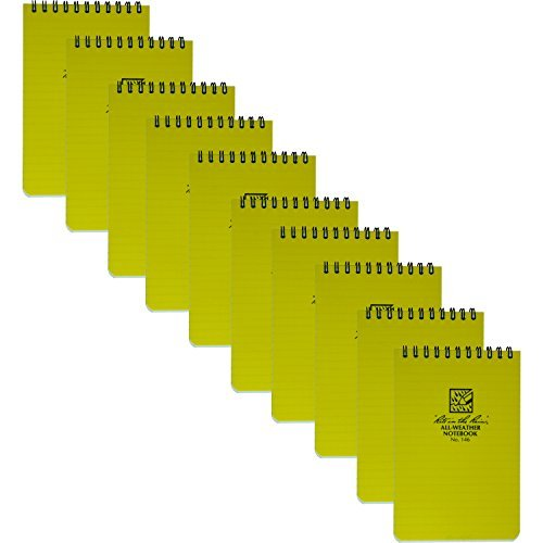 Rite in the Rain 146 Universal Yellow Pocket Notebook 4-Inch x 6-Inch, 10-Pack