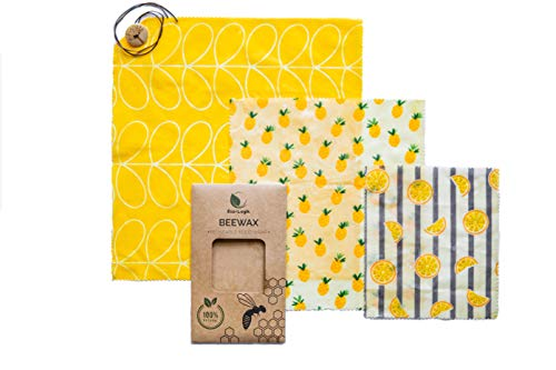 Beeswax Wraps - 3 Pack Eco Friendly Food Covers - Reusable Non-Plastic Food Wraps - Sustainable, Biodegradable - 1 Small, 1 Medium, 1 Large