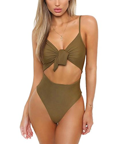 Sexy One Piece Swimsuits (CoCo fashion Women's Tie-Front Padded Halter One Piece Sexy Backless Swimsuit Cut Out Monokini Swimwear (Green, X-Large))
