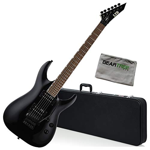 ESP LTD MH-200 BLK Black Arched Top Electric Guitar w/Hard Case and Cloth
