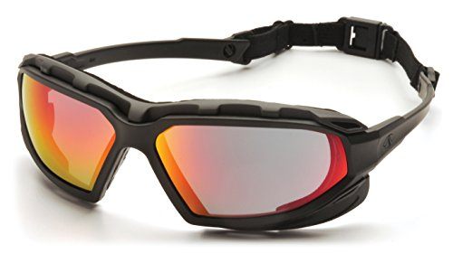 Pyramex Safety Highlander XP Eyewear, Black-Gray Frame/Sky Red Mirror Anti-Fog Lens