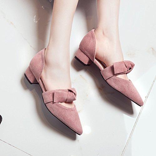scarpe sandali a spessa tacco punta yalanshop comode piedi papillon basse temperamento 1Color con Baotou xUqgCB