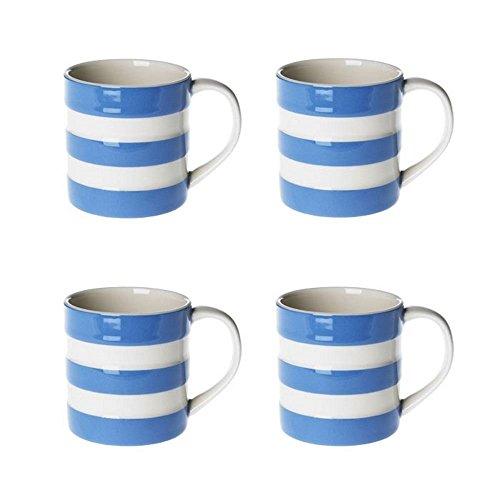 (Cornishware Blue and White Stripe Set of 4 Espresso Cups Mugs, 6oz by Cornishware)