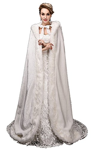 Plus Size Fluffy Dog Costumes (Mytree Women's Faux Fur Winter Long Wedding Cloak Coat Jacket Bridal Wraps Cape)