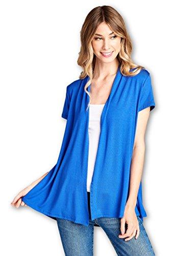 ReneeC. Women's Extra Soft Natural Bamboo Short Summer Cardigan - Made in USA (Medium, Royal -