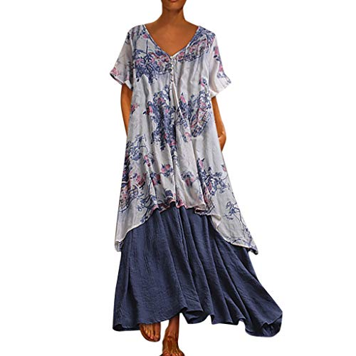Women Vintage Floral Loose O-Neck Broken Flower Print Short Sleeve Cotton Linen Casusl Maxi Dress - Sleeveless Petite Sequin Ruffle 1950S Indian Short 60S Tunic Beach Green Beige (Blue_ 24 XXL)