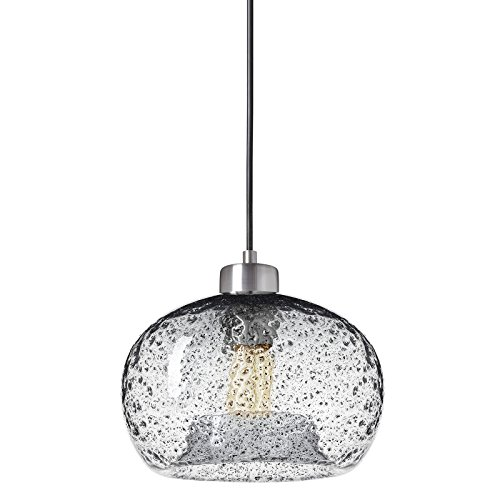 Casamotion Pendant Lighting Handblown Glass Drop ceiling lights, Rustic Hanging Light Clear Seeded Glass with black sand powder, Brushed Nickel (Pendant Lighting Fixture)