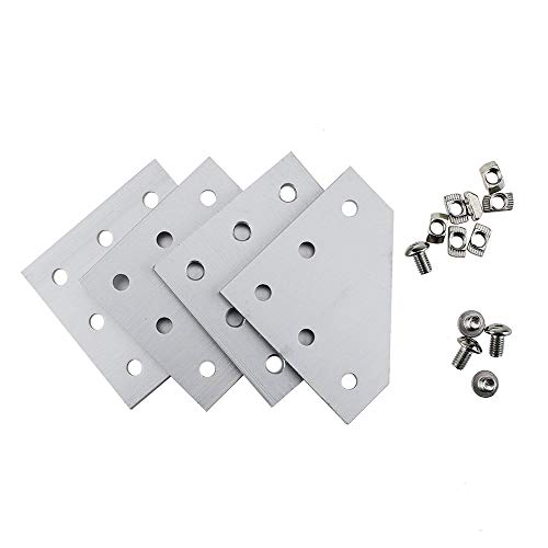 Iztoss 90 Degree L Shape Outside Joining Plate 10pcs with M5 2020 Series T Nuts 50 pcs and Semi-Round M5x8 Head Hex Screws 50pcs