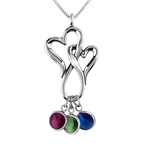 Family Pendant Silver Loving Sterling (Loving Family - Sterling Silver Double Heart Necklace with Swarovski Crystal Birth Month Charms - 3 Charms - 18