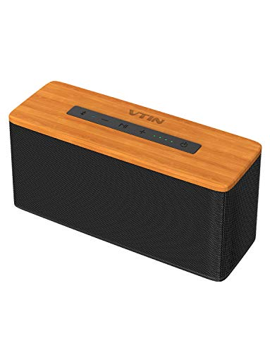VTIN Soundhot B2 Bluetooth Speakers, 30W Loud Wood Home/Outdoor Wireless Speaker, Super Bass Stereo Sound, 66 Ft Bluetooth V5.0 and 24H Playtime,TWS Connection