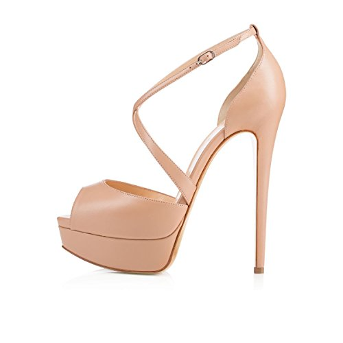 ZriEy Women's Sexy Noble Platform Sandals Ankle Strap High Heels for Cocktail Prom Party Wedding Dancing Shoes Matt Leather Nude size 6/ 36 M, EU (Matt Leather)