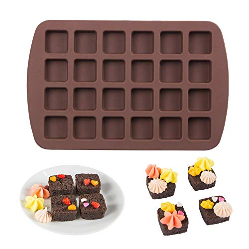 Webake Mini Brownie Pan Square Silicone Baking Mold for Keto Fat Bomb, Chocolate, Peanut Butter, Blondie ()
