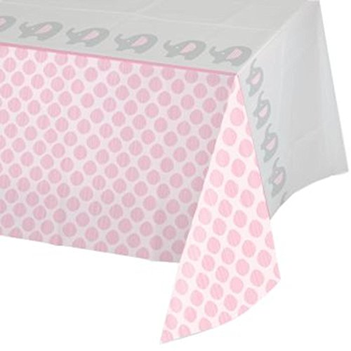 Pack of 6 Little Peanut Girl Pink Damask Bordered Baby Shower Tablecloths 54