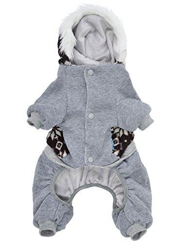AMC Cozy Hooded Sweater Overall Pants Dog Clothes w/ Snowflake Pattern, M